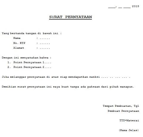 89 contoh surat pernyataan resmi download gratis
